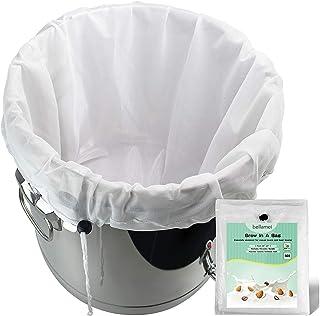 Bellamei Brew Bags Reusable 2 Pack 250 Micron Fine Mesh Bag for Fruit Cider Apple Grape Wine Press Drawstring Straining Br...