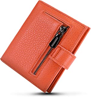 Women's Rfid Blocking Small Compact Bifold Leather Pocket Wallet Ladies Mini Purse with id Window (orange)