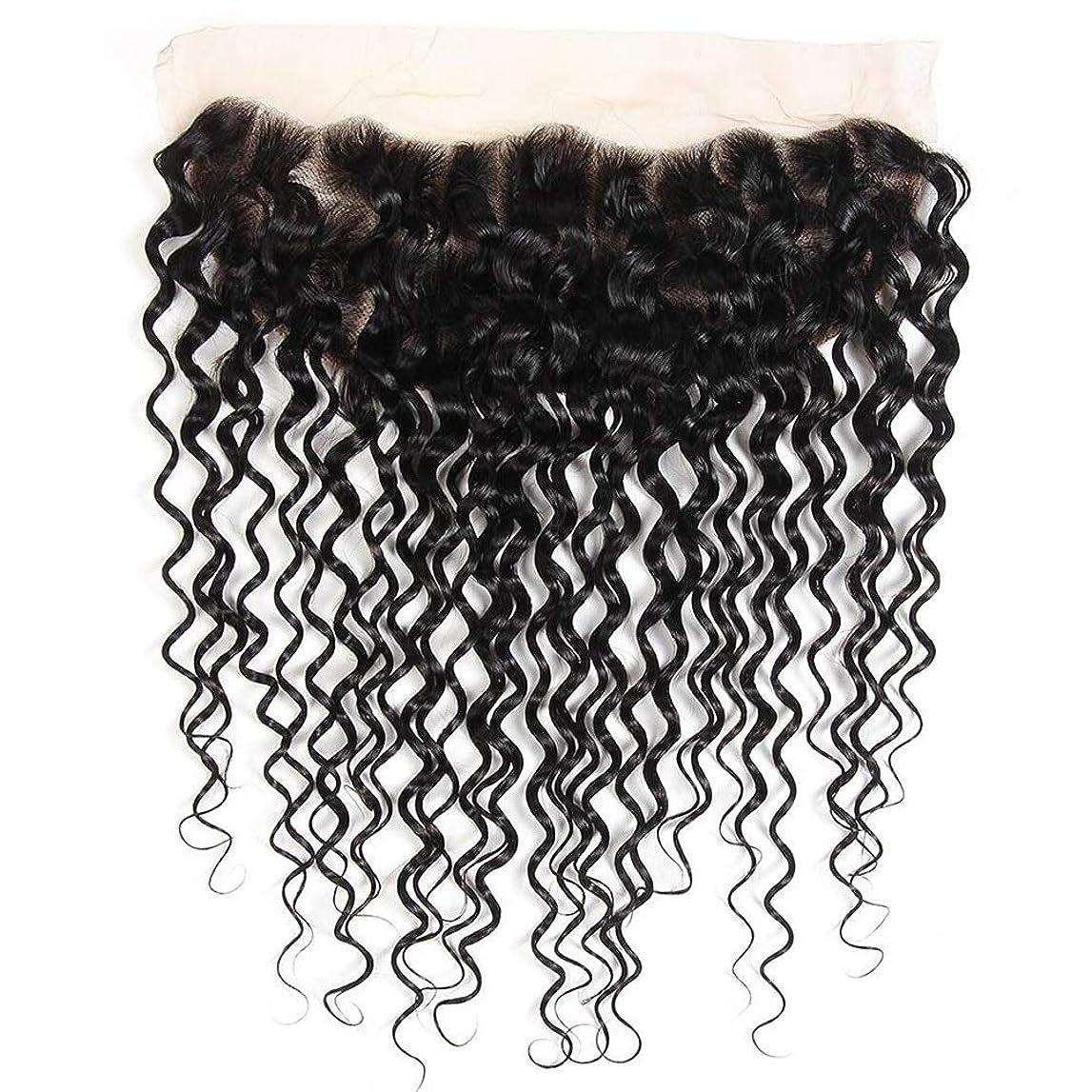 遅らせるテレックスディプロマMayalina ブラジルの水の波レミー人間の髪の毛13 * 4インチレース前頭閉鎖用女性8インチ-20インチショートカーリーウィッグ (色 : 黒, サイズ : 14inch)