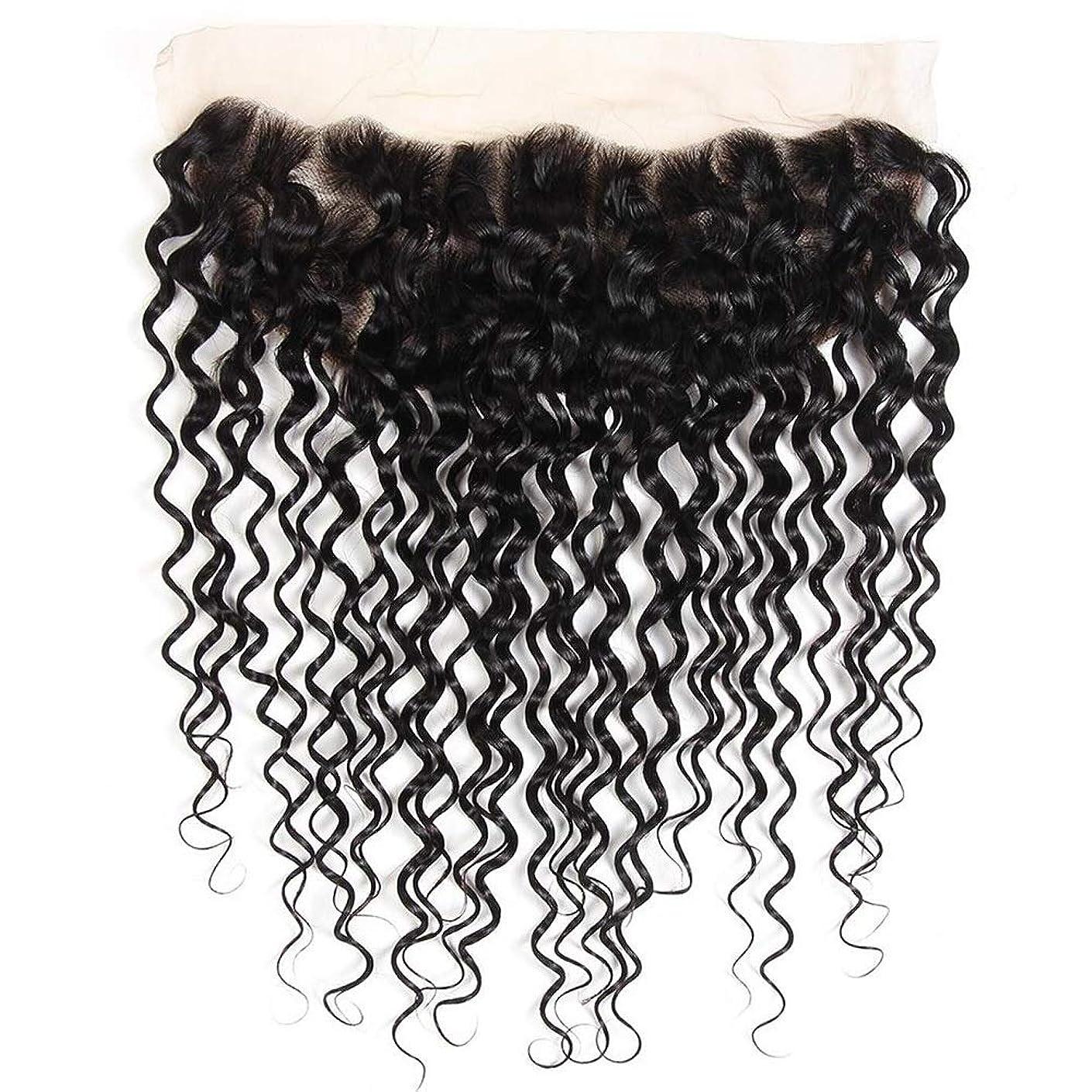 電話をかける高価なウェブMayalina ブラジルの水の波レミー人間の髪の毛13 * 4インチレース前頭閉鎖用女性8インチ-20インチショートカーリーウィッグ (色 : 黒, サイズ : 14inch)