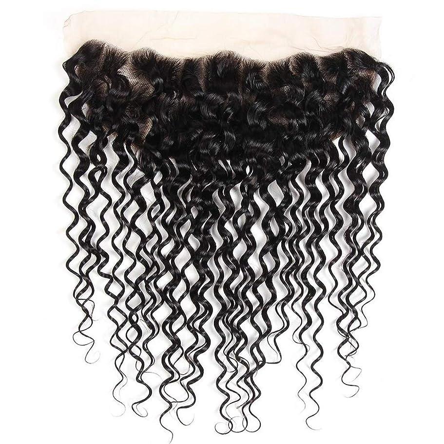 誤解運ぶロードされたBOBIDYEE ブラジルの水の波レミー人間の髪の毛13 * 4インチレース前頭閉鎖用女性8インチ-20インチショートカーリーウィッグ (色 : 黒, サイズ : 10inch)
