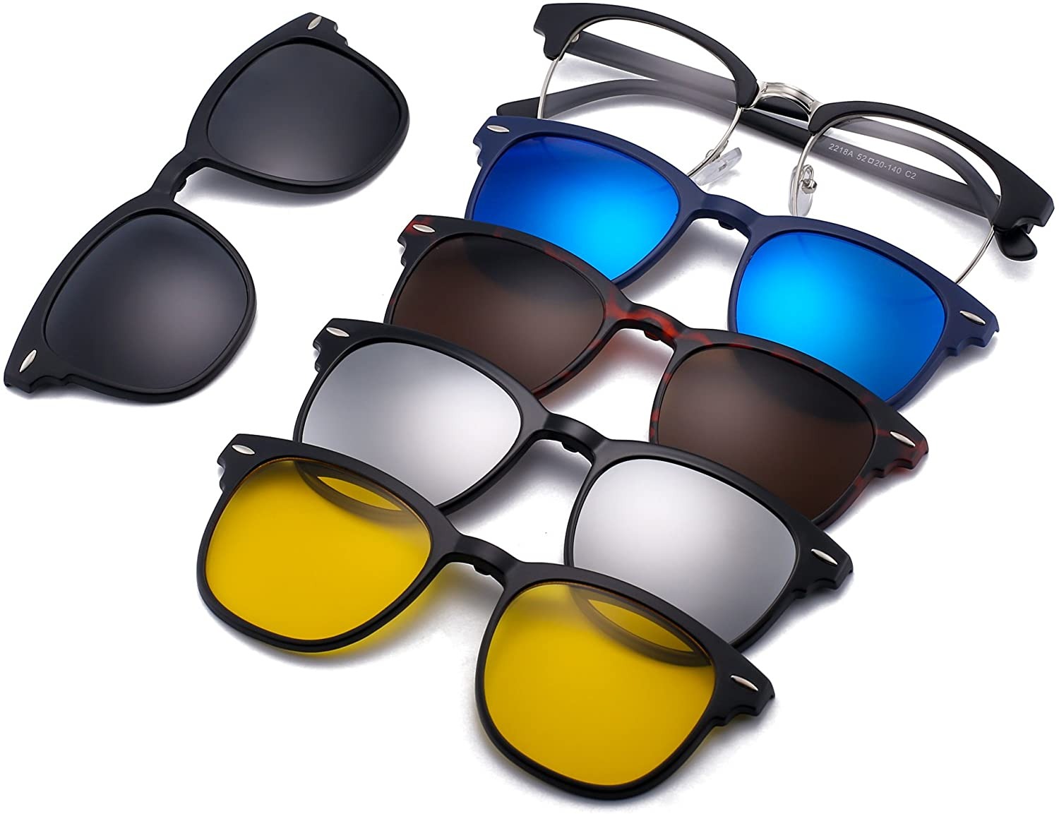 JIM HALO Magnetic 5 pieces polarised clip on sunglasses plastic frame for  night driving - 2218a : Amazon.de: Fashion