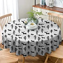 VICWOWONE Round Tablecloth Multicolor Forest Christmas Decoration Daily use Christmas Spirit Inspired Sketchy Reindeer Figure Pine Trees Rabbits Animal Design,D71(180cm) Black White