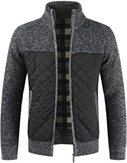 Mens Knitted Cardigan with Zipper Long Sleeve Open Front Plush Coat Casual Slim Thickened Outwear Winter Jackets for Men