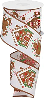 """Craig Bachman 2.5"""" Gingerbread Sprinkles Ribbon: White (10 Yards) Gingerbread House Candy Ribbon RX4370"""