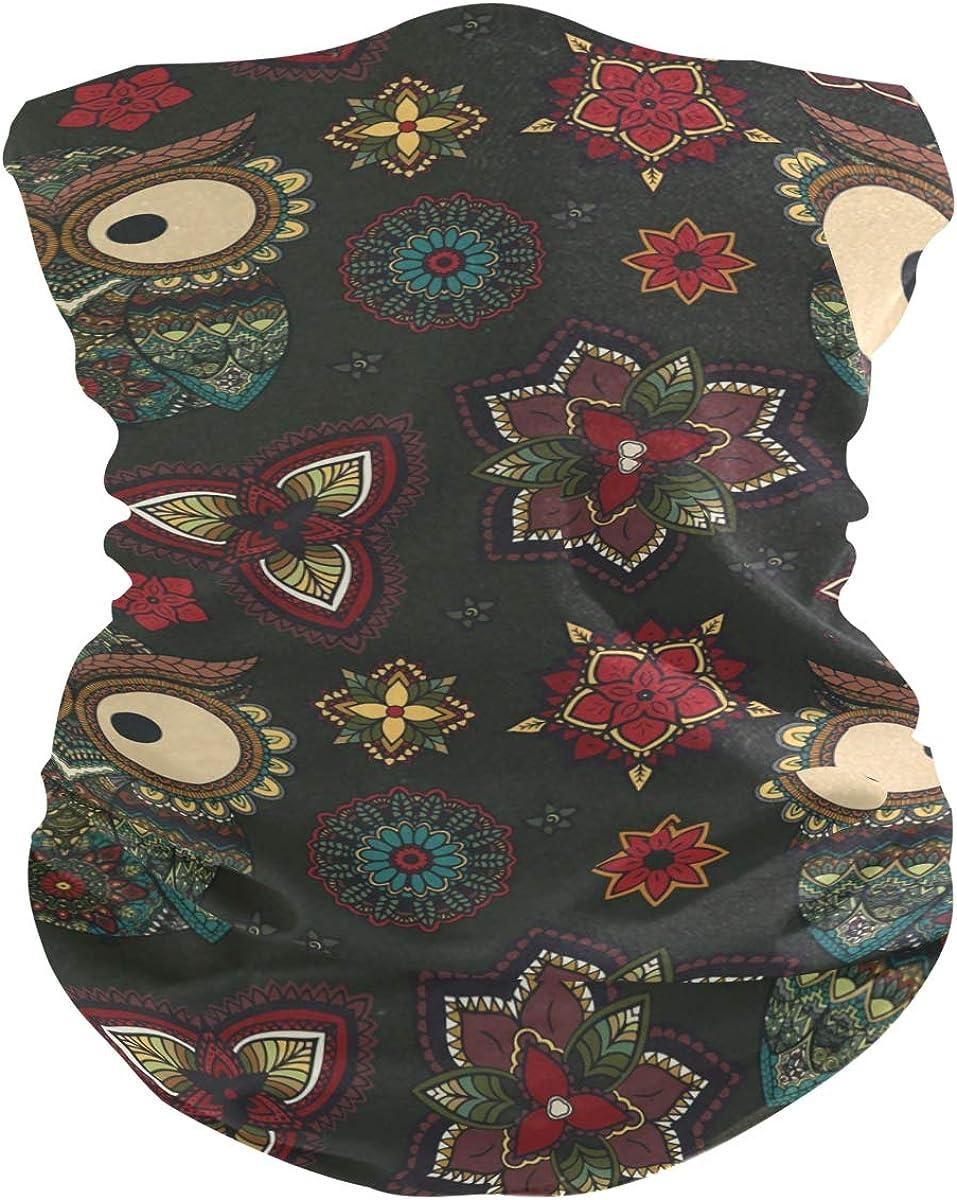 Face Mask Bandana for Women Men, Owl Pattern Neck Gaiter Balaclava Face Cover Sun Dust Mask Magic Scarf Headwear