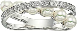 Eternity Rings 4 mm White Pearls CZ Sterling Silver Ring