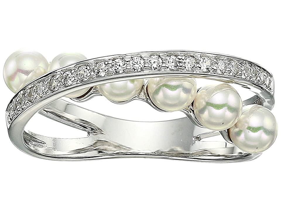Majorica - Majorica Eternity Rings 4 mm White Pearls CZ Sterling Silver Ring