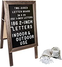 Large Wooden A-Frame Sign 36x20 Felt Letter Board with Changeable Letters & Enclosure. Freestanding Rustic Vintage Message...