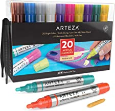 Arteza Acrylic Paint Markers, Set of 20 Assorted Color Pens, Replaceable Tips, Water-Based, for Rocks, Canvas, Glass,Pottery and Plastic