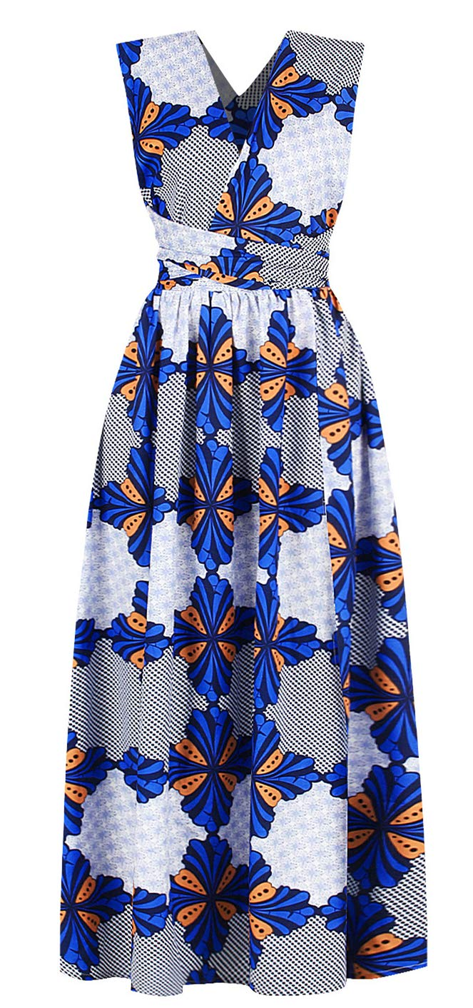 Available at Amazon: ENLACHIC Women's African Floral Printed Side Slit Bohemian High Waist Dashiki Maxi Dresses