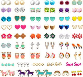NEWITIN 52 Pairs Colorful Cute Stud Hypoallergenic Earrings Stainless Steel Earr