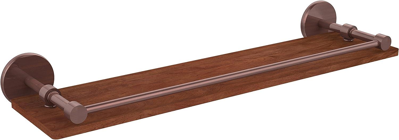 Allied Brass P1000-1-22-GAL-IRW-CA Prestige Skyline Collection 22  Solid Ipe Ironwood Shelf with Gallery Rail,
