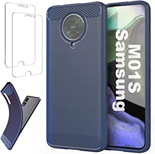 Ttianfa Fodral Case för Samsung M01S,【2x】SkäRmskydd Carbon fiber Bumper ultra tunna 360° helkroppsskydd StöTsäKer Shockpro...