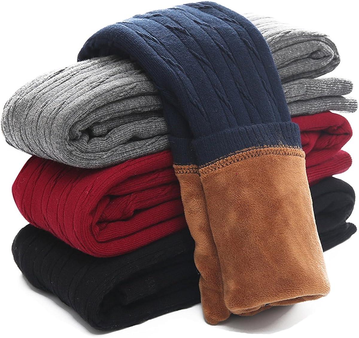 Govc Kids Girls Winter Warm Velvet Leggings Stretch Cotton Cable Knit Fleece Lined Pants Tights