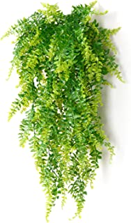 2 Pcs Artificial Plants Vines Boston Ferns Persian Greenery Rattan Fake Hanging Plant Faux Hanging Fern Flowers Vine Outdoor UV Resistant Plastic Plants for Wall Indoor