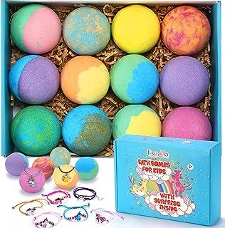 Bath Bombs for Kids with Toys Inside for Girls Boys - XXL Large Size 12 Set Gift Kit, Surprise Unicorn, Handmade Bubble Ba...