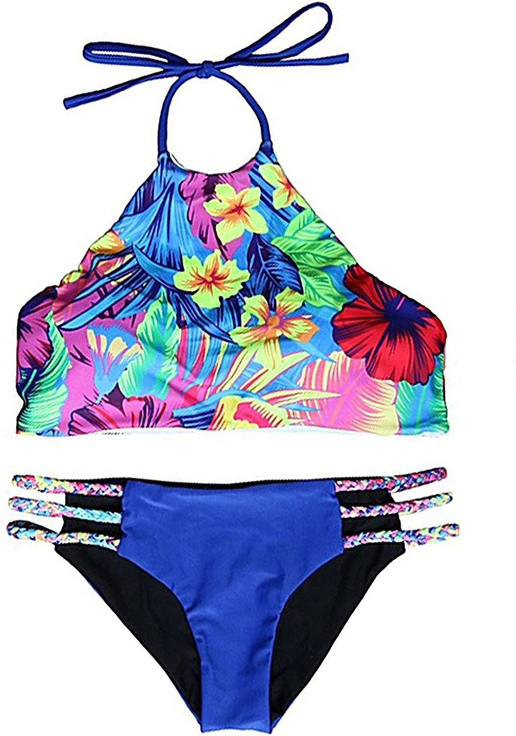 Speciall Pily Charming Women's colorful Floral Printing 2 Piece Push up Padded Bikini Swimsuit
