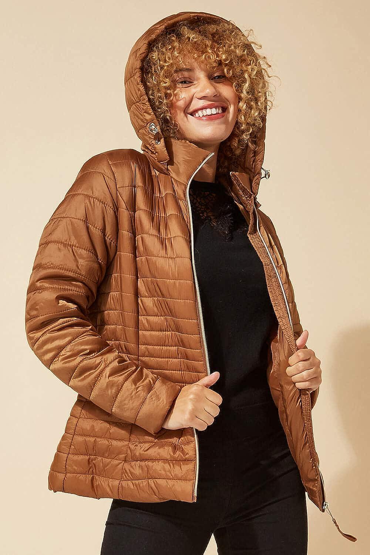 Roman Originals Frauen gepolsterter Parka-Mantel - Damen verdeckte Kapuzenjacke Fronttasche Gesteppte Puffa wasserdicht regensicher Thermisch montiert Reißverschluss durch Taupe