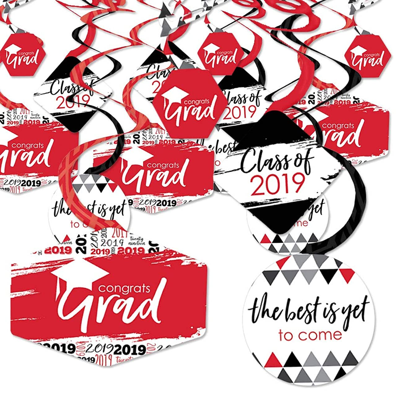 Red Grad - Best is Yet to Come - 2019 Red Graduation Party Hanging Decor - Party Decoration Swirls - Set of 40