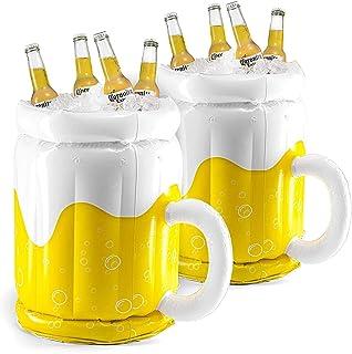 """Top Race Enfriador Inflable de 18"""", Enfriador de Cerveza para Fiestas, Decoraciones para Fiestas de Verano, Jarra de Cerveza Inflable para Fiestas en la Piscina en la Playa (Paquete de 2)"""