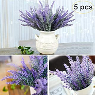 YBLNTEK Artificial Lavender Flowers Bouquet 5 Pcs Fake Flocked Plant Purple Fake Flower Decor Brighten Home Party Wedding Centerpieces Arrangements