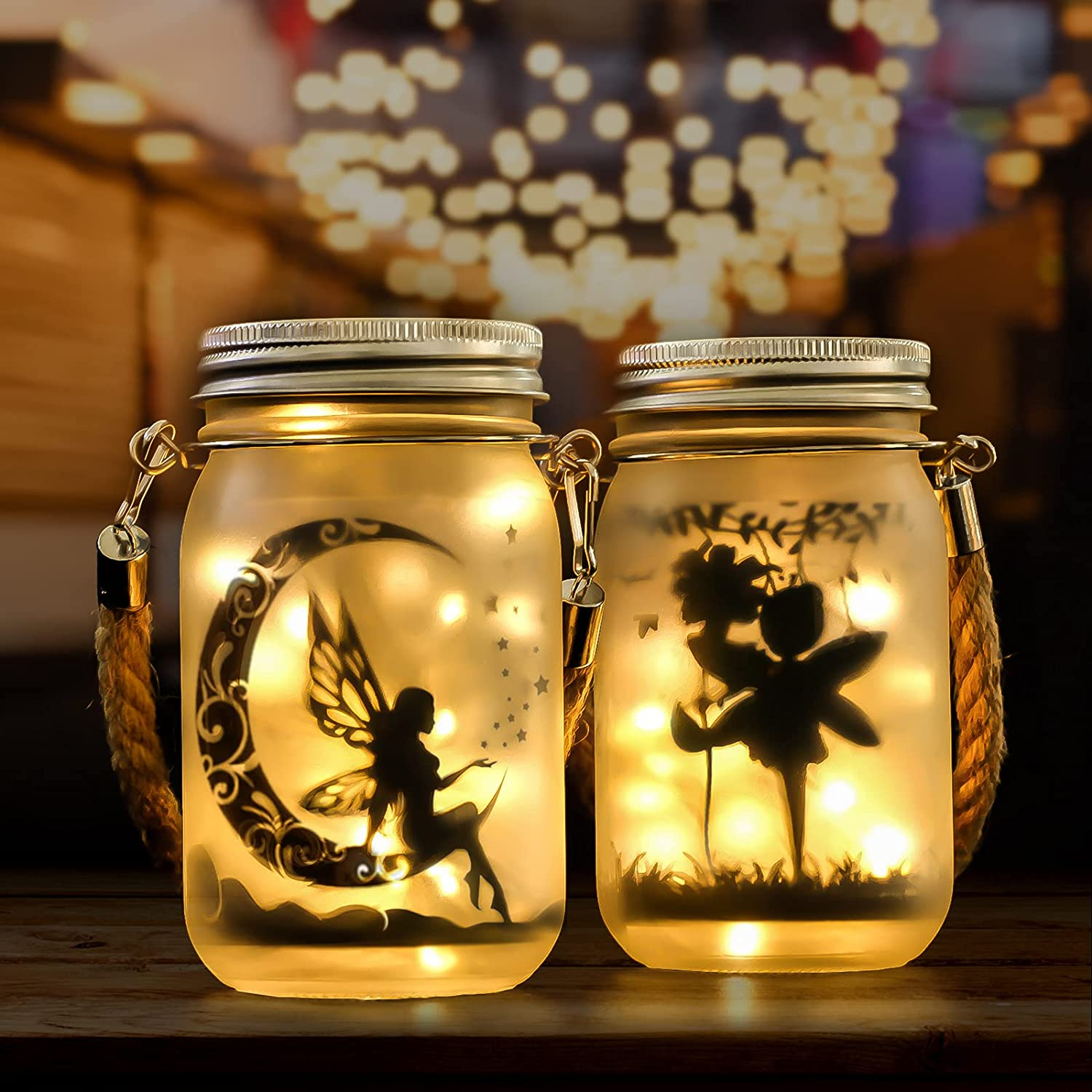 2 Pack Hanging Solar Lanterns Outdoor, Solar Fairy Lights, Outdoor Fairies Decor Gifts for Backyard Garden Patio Balcony Porch Decorations, Frosted Glass Mason Jar Lights, 30 LED Mini String Lights