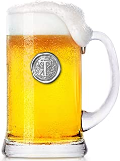 English Pewter Company 1 Pint Monogram Initial Beer Mug Glass Tankard - Unique Gifts For Men - Personalized Gift With Your Choice Of Initial (T) [MON020]