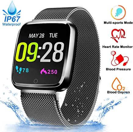 Fitness Tracker Watch - Blood Oxygen Heart Rate Monitor Blood Pressure Smart Watch, Waterproof Sport Activity Smart Band, Running GPS Tracker Pedometer Calorie Sync SMS Phone Android/IOS