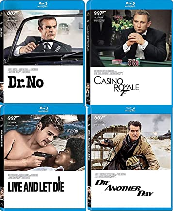 Agents on a Spy 4 Mission Movies Dr. No Sean Connery 007 James Bond & Roger Moore Blu Ray Live Let Die / Casino Royale Daniel Craig + Die Another Day Pierce Brosnan Four film Action Set Collection