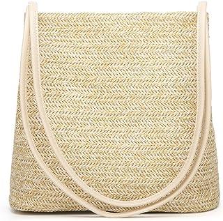 Andear Women Girls Straw Woven Handbag Summer Beach Holiday Tote Purse Bag Travel Shoulder Bag