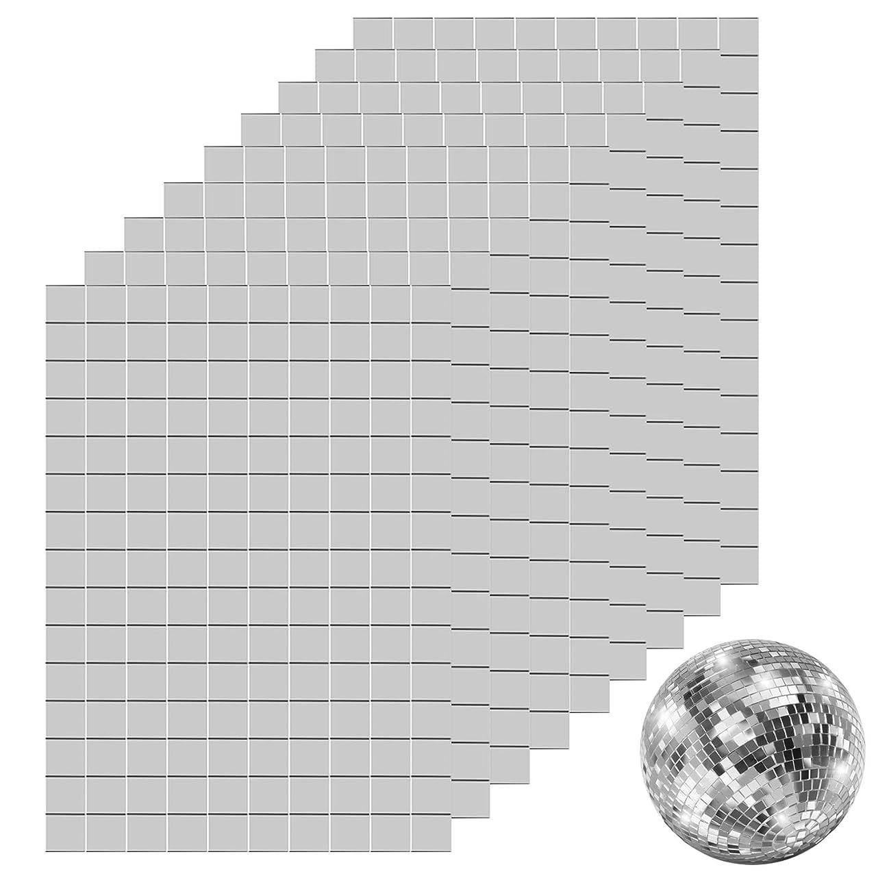 Ruisita 450 Pieces Self-Adhesive Mini Square Glass Mirrors Mosaic Tiles Mirror Mosaic Stickers for DIY Craft Decoration, 1 x 1 cm