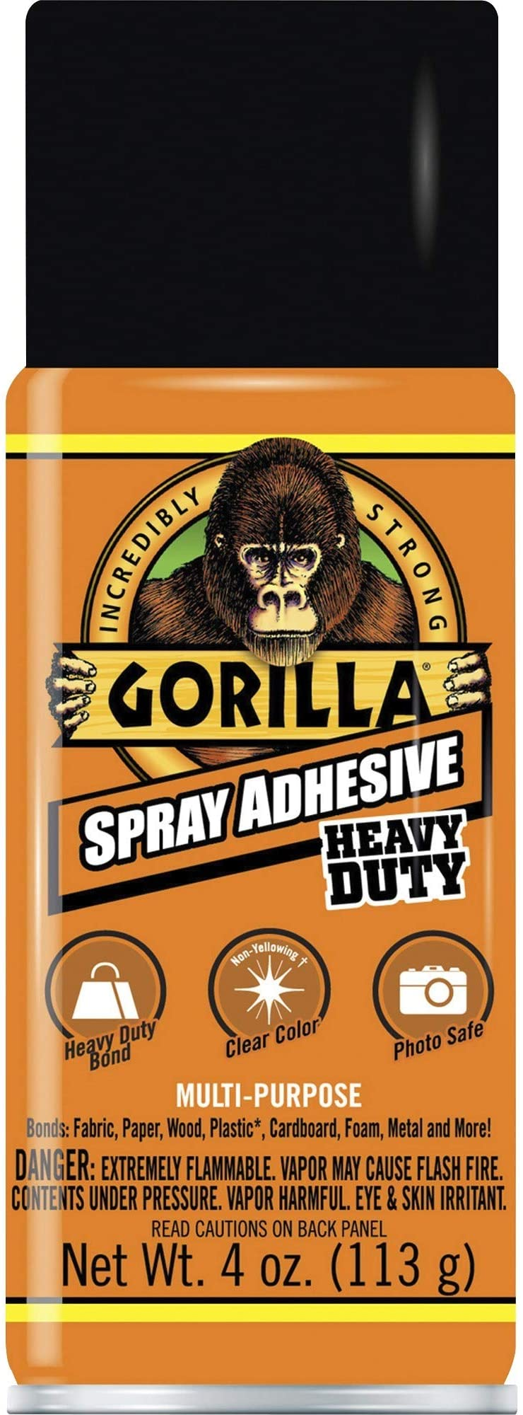 Gorilla Heavy Duty Spray Adhesive, Multipurpose and Repositionable, 4 ounce, Clear, (Pack of 1) - 6346502