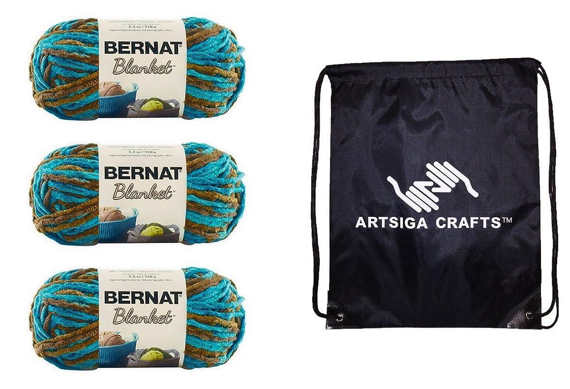 Bernat Blanket Yarn (3-Pack) Mallard Wood 161200-00203 Bundle with 1 Artsiga Crafts Project Bag