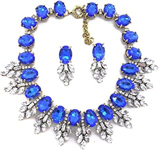 Lux Statment Necklace Leaf Crystal Choker Eveing Dress Brial Jewelry Necklace Earrings Set for Women