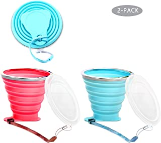 TLWDZ Silicone Collapsible Travel Cup Reusable, 2 Pack Silicone Folding Cup with Lids, Expandable Portable Drinking Mug for Camping Outdoor Hiking Picnic - BPA Free, (9.2 oz)