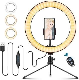 ELEGIANT 10,2 tum (26 cm) Selfie-ringlampa med stativställ, dimbar ringlampa med mobiltelefonhållare, 3 ljuslägen och 11 l...