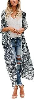 Women's Swimsuit Cover up Beach Long Kimono Bathing Suit Chiffon Floral Cardigan