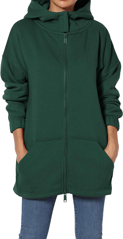 TheMogan S~3X Funnel Neck Pocket 2 Way Zip Up Loose Fit Hoodie Sweatshirt Jacket