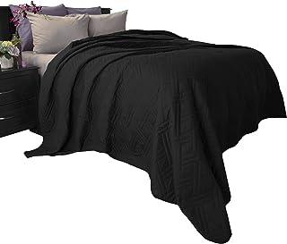 Lavish Home 66-40-K-BL Solid Color Bed Quilt-King-Black