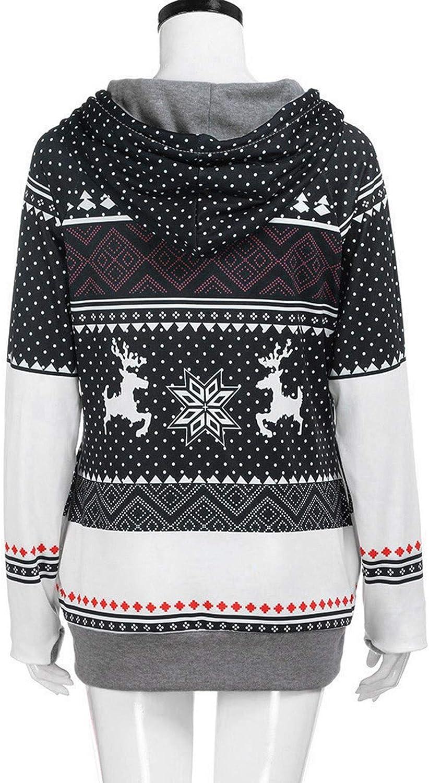 Christmas Hoodies for Womens Snowflake Printed Sweatshirt Cute Long Sleeve Tops Color Block Pullover