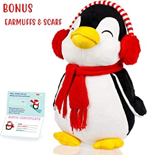 Penguin stuffed animals - Cute, Soft and Cuddly Penguins Plush Animals Toy. Great Gifts for Baby Showers, Birthdays, Valentines or Christmas. Pre-Gift Wrapped w/ Adorable Scarf and Knitted Winter hat