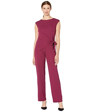 LAUREN Ralph Lauren Side-Tie Jersey Jumpsuit (Dark Raspberry) Women