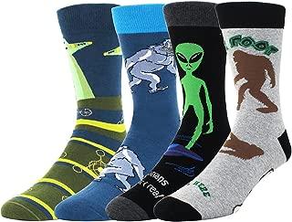 Men's Novelty Funny Halloween Crew Socks, Crazy Weird Alien Bigfoot Pumpkin