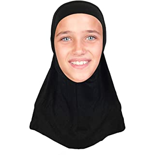 Kids Hijab Scarf for Girls Two-Piece Amira School Uniform Stretch Jersey Modal Child Size Hijabs-with Tube Underscarf Cap