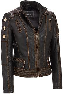 Women's Cafe Racer Vintage Biker Leather Jacket XXS to 3XL