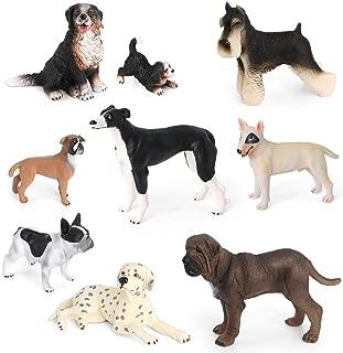 Volnau Dog Figurines Toys 9PCS Mini Dog Figures for Kids Toddlers Preschool Educational Bulldog, Dalmatian, Schnauzer Puppy Animal Toys Set, BPA Free