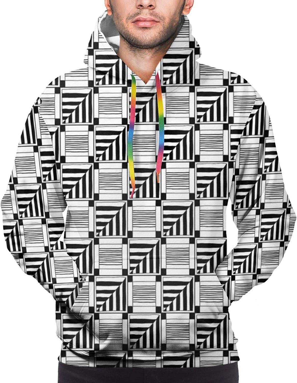 TENJONE Men's Hoodies Sweatshirts,Abstract Composition of Monochrome Geometric Shapes Pattern Grid Squares,Small