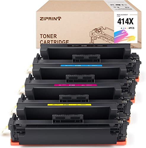 new arrival ZIPRINT (NO Chip) Compatible Toner Cartridge Replacement for outlet online sale HP 414 414X W2020X outlet sale W2021X W2022X W2023X use for Color Laserjet Pro M454dw M454dn HP Color Laserjet Pro MFP M479fdw M479fdn Printer (4-Pack) outlet online sale