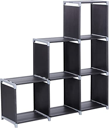 SONGMICS DIY Bookcase Display Storage Shelf Room Divider Step Rack Maximum Loading Capacity of Each Cube: 10 kg 105 x 29 x 105 cm Black LSN63H